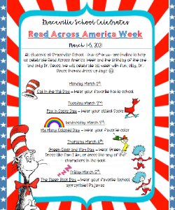 Dress up day schedule for DR. Seuss week